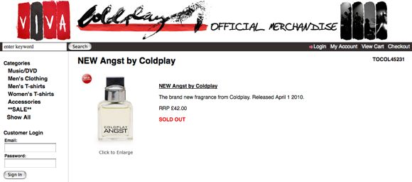 angst by coldplay sold out