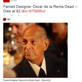 Oscar de la Renta muere a los 82 años -TMZ