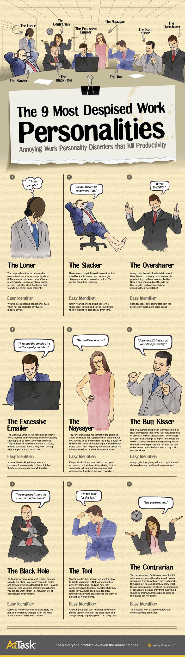 Las 9 personalidades con las que nadie desea trabajar