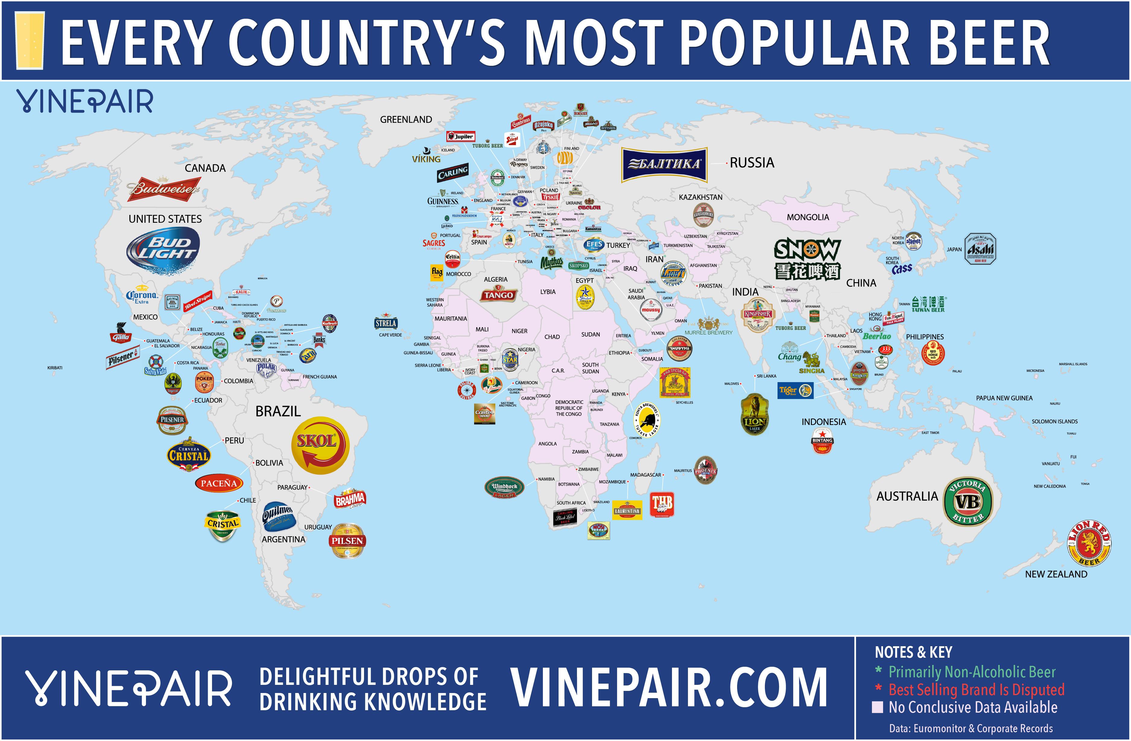 Mapa del mundo de la cerveza