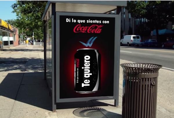di lo que sienres con Coca-Cola valla