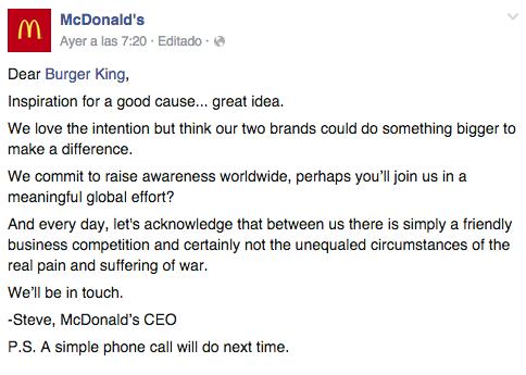 Respuesta McDonald's a Burger King