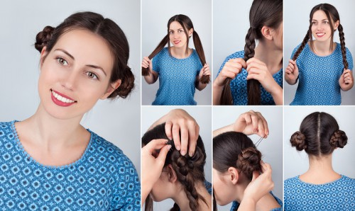 Hair tutorial. Hairstyle braid tutorial. Backstage technique of weaving plait. Hairstyle. Tutorial. Hairstyle two braided buns