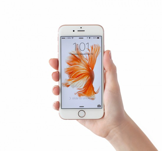 Alushta Russia - November 12 2015: Woman unlock iPhone6S Rose Gold in the hand on the white background. iPhone 6S Rose Gold was created and developed by the Apple inc.