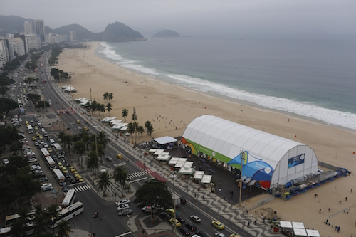 IMAGE DISTRIBUTED FOR VISA - General view of the Copacabana Megastore where customers can pay with Visa wearable technology and mobile payments at the Copacabana beach in Rio de Janeiro Brazil, Thursday, June 30, 2016. (Leo Correa/AP Images for Visa)