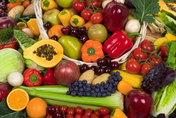 Organic healthy vegetables and fruits