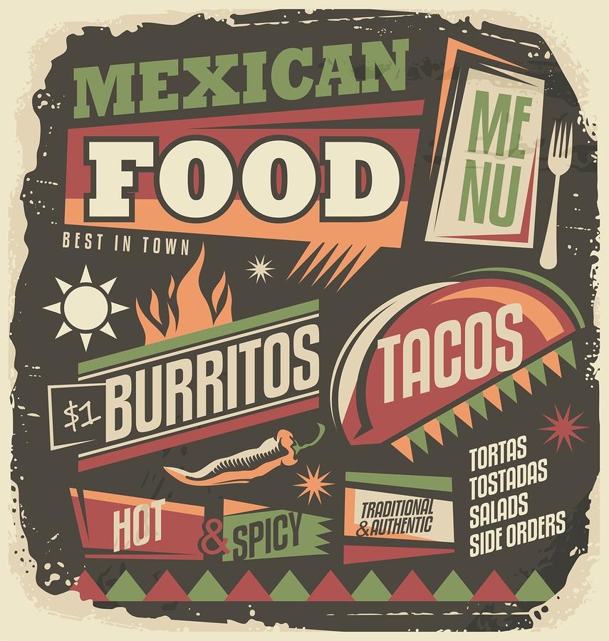 comida, mexico, cartel, menu, tacos