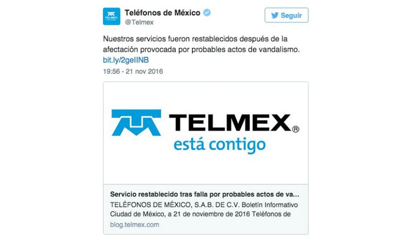 telmex, falla