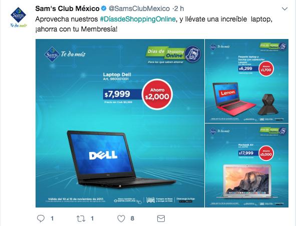 Tuit de promociones de Sam's Club