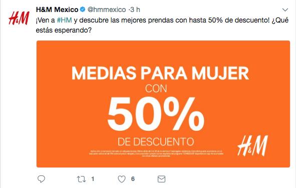 tuit de la promoción de H&M