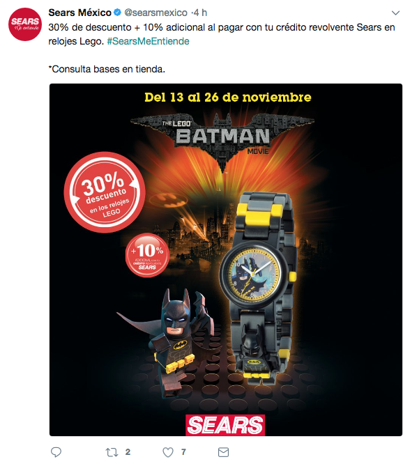 Tuit de promoción de Sears