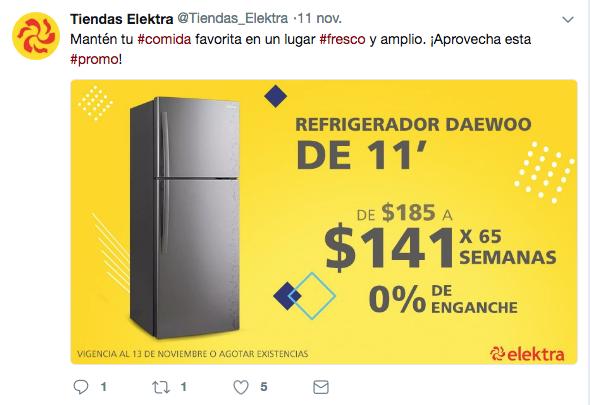 Tuit de promoción de Elektra