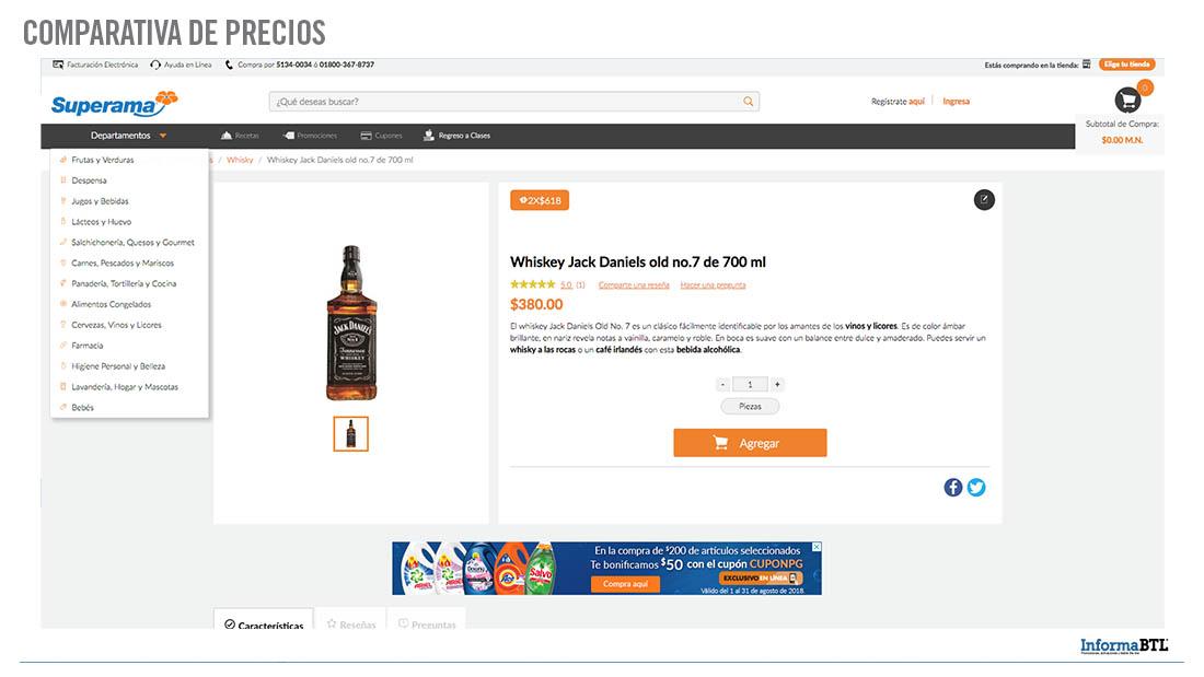 Comparar productos: whiskey - Superama