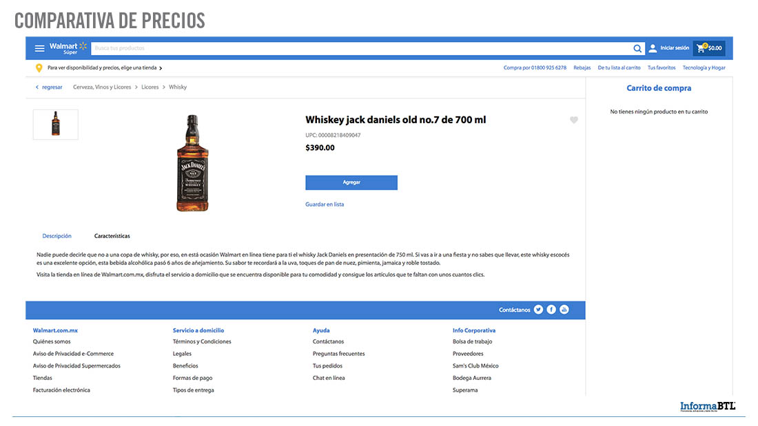 Comparar productos: whiskey - Walmart
