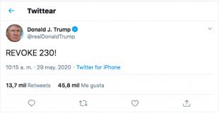Publicación de Donald Trump en Twitter