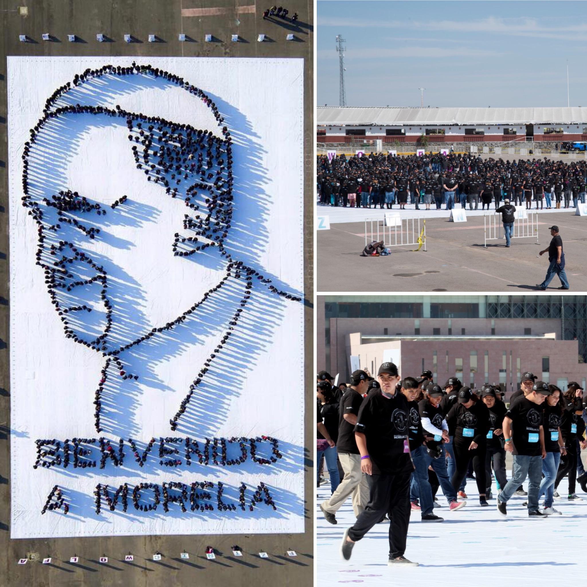 Retrato realizado con personas para la visita del Papa Francisco en Morelia.