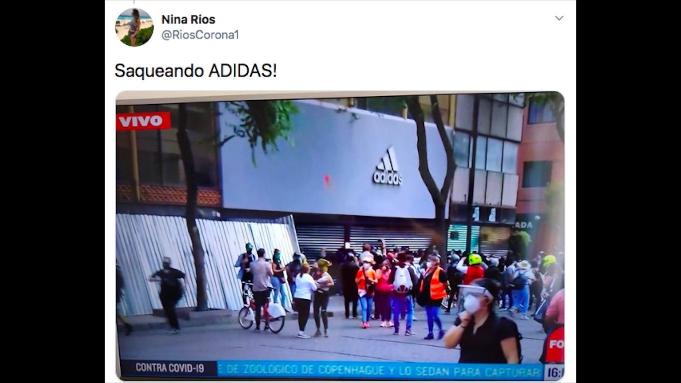 Alinear cortar Montón de  Saquean tienda de adidas en Madero en medio de manifestación