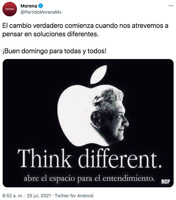 Morena plagia logo y campaña de Apple en Twitter