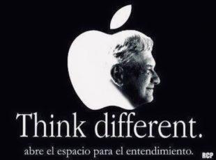 Morena plagia logo y slogan de Apple